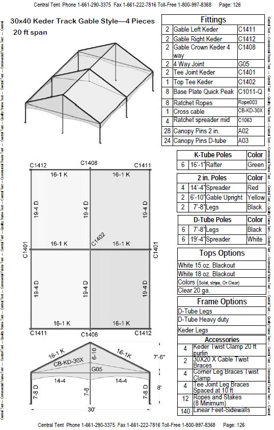 Uses standard tent sidewalls. 9. Arc top tee joint allow easier track rolling systems. 10. Available in Hip roof style.  sc 1 st  Central Tent & 30x40 Complete Keder Track Gable Style 4 pcs (2 Ends 2 Mid ...